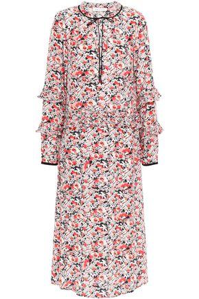 LILY AND LIONEL فستان متوسط الطول من قماش كريب دي شين الحريري المطبع بالورود مع كشكش