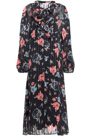 LILY AND LIONEL فستان متوسط الطول من الشيفون المطبع برسومات مع طيات