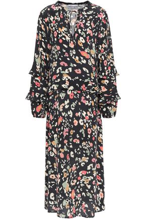 LILY AND LIONEL فستان متوسط الطول من قماش كريب دي شين الحريري مع نقوش الفهد وكشكش