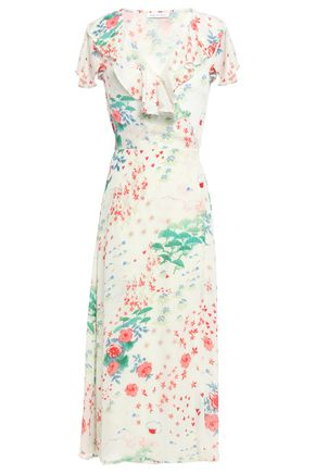 LILY AND LIONEL فستان ملتف متوسط الطول من قماش كريب دي شين المطبع بالورود مع كشكش