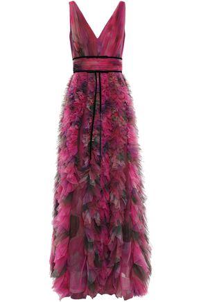 MARCHESA NOTTE Velvet-trimmed ruffled printed tulle gown