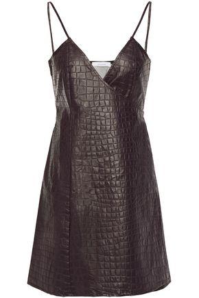 BEAUFILLE Faux croc-effect leather mini wrap dress