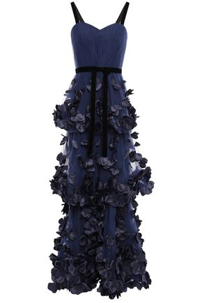 MARCHESA NOTTE Strapless ruffled point d'esprit gown
