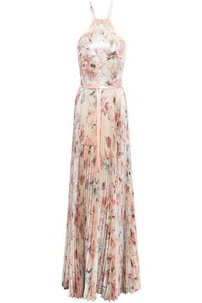 MARCHESA NOTTE Cutout pleated floral-print jacquard gown