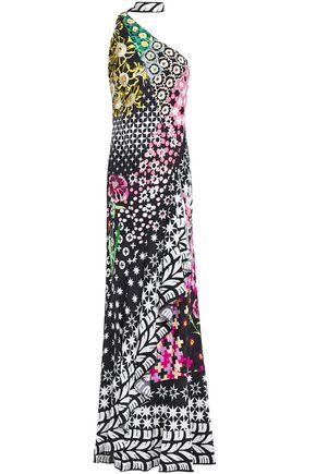 TEMPERLEY LONDON Claudette one-shoulder printed satin-jacquard maxi dress