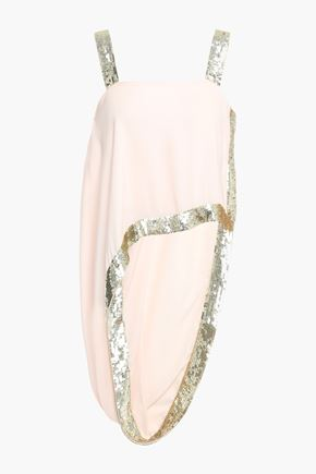TEMPERLEY LONDON Sycamore asymmetric sequin-trimmed twill top