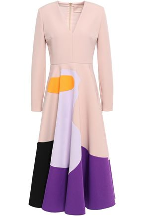 ROKSANDA Flared color-block crepe dress