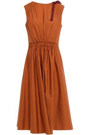 ROKSANDA Gathered bow-embellished cotton-poplin midi dress