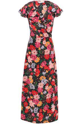 LILY AND LIONEL فستان قصير بتصميم ملفوف من قماش كريب دي شين المطبع بالورود مع كشكش