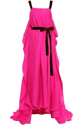 ROKSANDA Cape-effect velvet-trimmed ruffled silk-twill gown