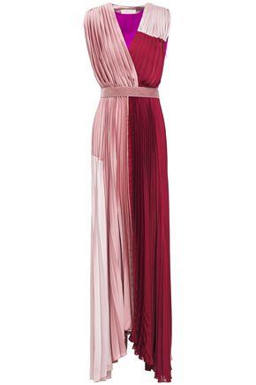 ROKSANDA Twist-back paneled pleated color-block satin maxi dress