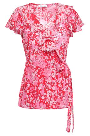 LILY AND LIONEL Ruffled floral-print crepe de chine wrap top