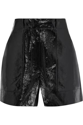 TIBI Crinkled patent-leather shorts