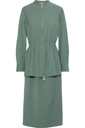 TIBI Belted woven midi dress