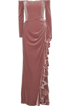BADGLEY MISCHKA Off-the-shoulder draped velvet gown