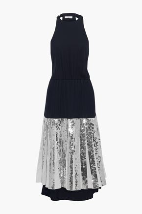 TIBI Pleated sequin-embellished poplin and silk-georgette midi dress