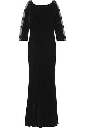 BADGLEY MISCHKA Open-back embellished tulle-paneled velvet gown