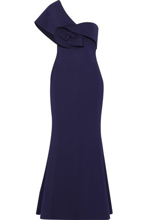 BADGLEY MISCHKA One-shoulder ruffle-trimmed neoprene gown