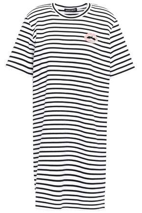 MARKUS LUPFER Alex appliquéd striped stretch-cotton jersey mini dress