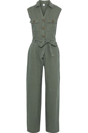 IRIS & INK Violet belted linen jumpsuit