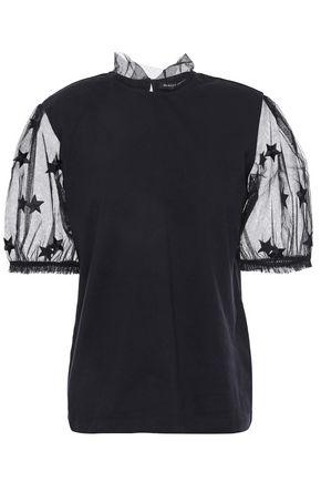 MARKUS LUPFER Lotta flocked tulle-paneled cotton-jersey top