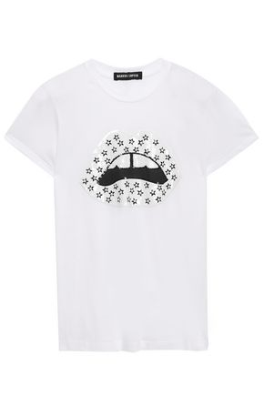 MARKUS LUPFER Kate sequined appliquéd cotton-jersey T-shirt