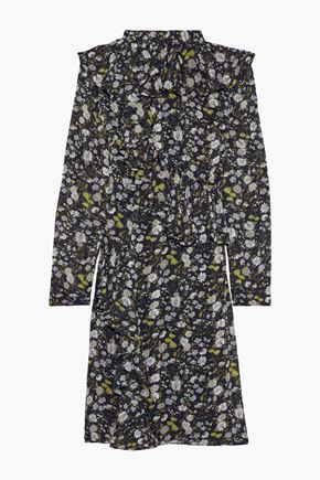 MIKAEL AGHAL Ruffled floral-print burnout georgette dress