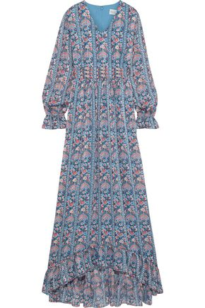 MIKAEL AGHAL Ruffle-trimmed floral-print burnout georgette maxi dress