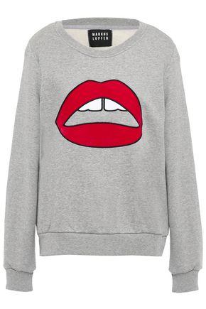 MARKUS LUPFER Leonie velvet-trimmed embroidered mélange cotton-fleece sweatshirt