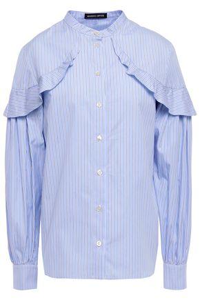 MARKUS LUPFER Lia ruffled striped cotton-poplin shirt