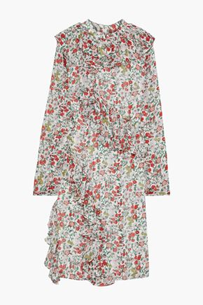 MIKAEL AGHAL Ruffled floral-print burnout crepe de chine dress