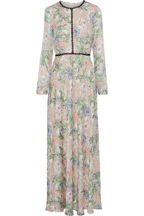 MIKAEL AGHAL Crochet-trimmed printed crinkled chiffon gown