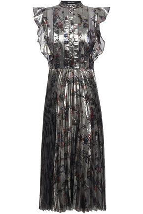 MARKUS LUPFER Poppy ruffle-trimmed pleated silk-blend lamé dress