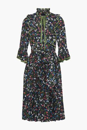 MIKAEL AGHAL Belted bow-detailed pleated floral-print crepe dress