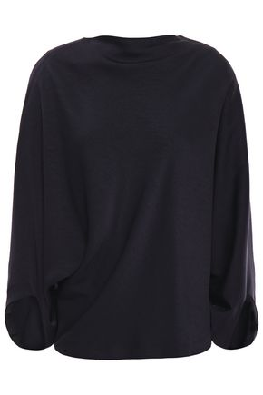 CHALAYAN Draped washed satin-crepe blouse