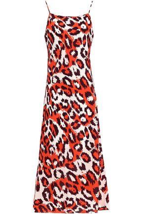 DIANE VON FURSTENBERG Leopard-print silk crepe de chine midi slip dress
