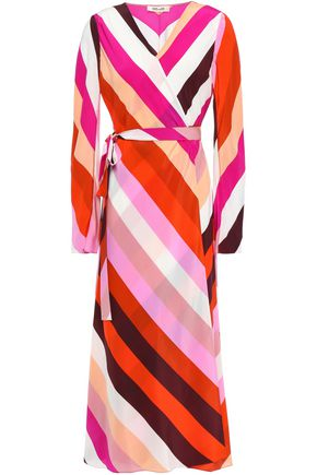 DIANE VON FURSTENBERG Tilly paneled floral-print silk crepe de chine midi wrap dress