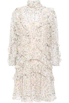 REBECCA TAYLOR Tiered ruffle-trimmed silk-blend devoré-velvet mini dress