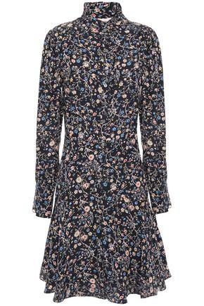 REBECCA TAYLOR Ruffle-trimmed floral-print silk-cady mini shirt dress