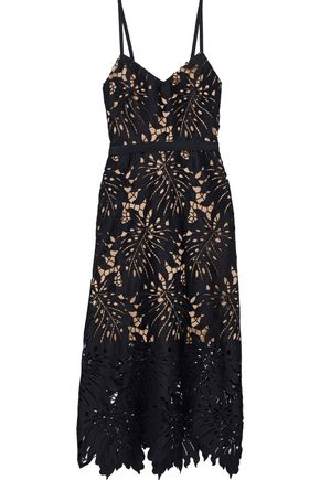CATHERINE DEANE Nydia grosgrain-trimmed guipure lace midi dress