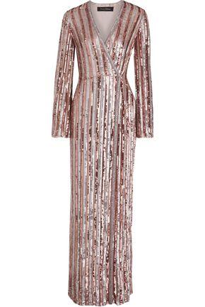 JENNY PACKHAM 装飾付き ストライプシフォン ラップロングドレス