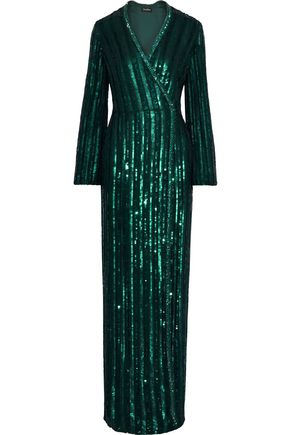 JENNY PACKHAM Striped embellished chiffon wrap gown