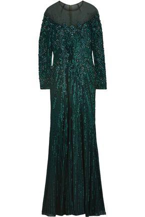 JENNY PACKHAM 装飾付き チュール ロングドレス
