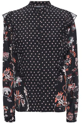 MARKUS LUPFER Printed silk crepe de chine blouse