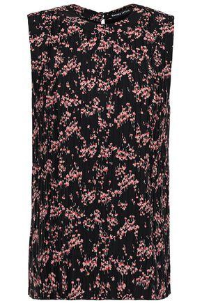 MARKUS LUPFER Floral-print plissé crepe de chine top
