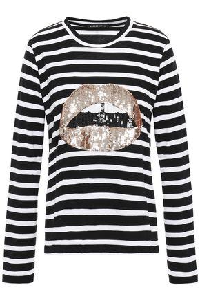 MARKUS LUPFER Appliquéd sequined cotton-jersey T-shirt