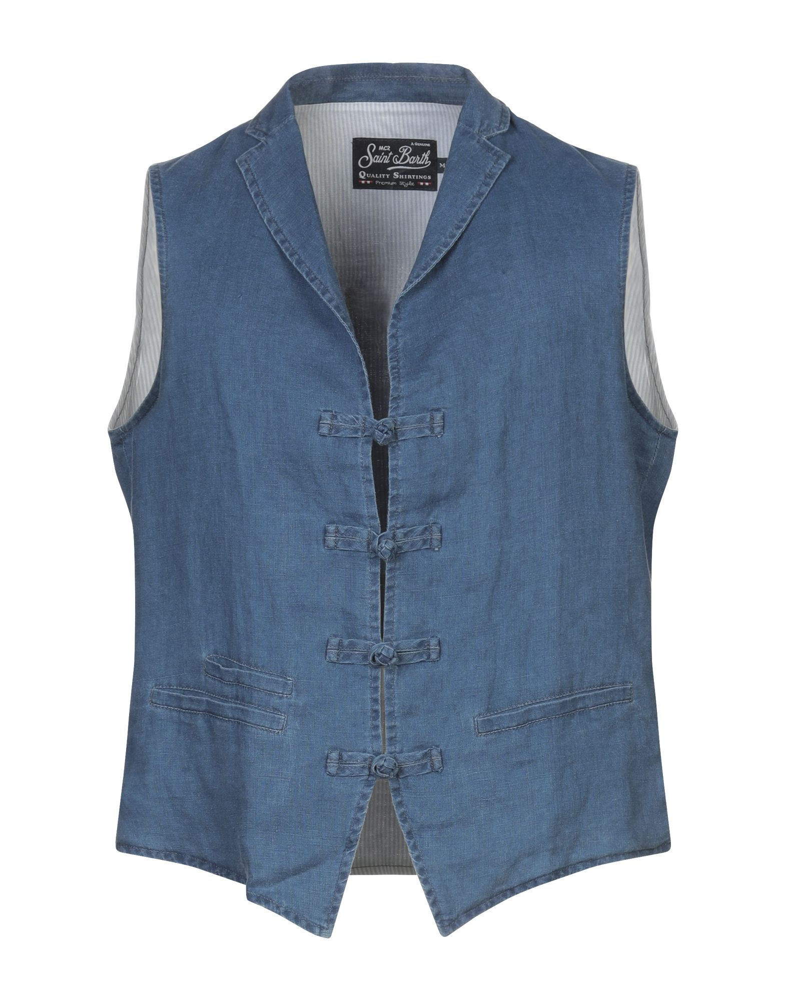 MC2 SAINT BARTH Vests. plain weave, denim effect, no appliqués, solid color, multipockets, lapel collar, single-breasted, sleeveless, fully lined. 100% Linen, Cotton, Polyester