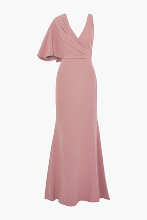 BADGLEY MISCHKA Asymmetric fluted crepe gown