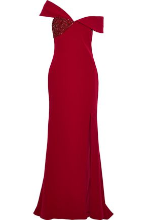 BADGLEY MISCHKA Off-the-shoulder embellished stretch-crepe gown