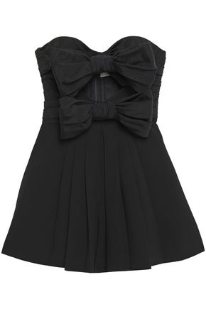 SAINT LAURENT Strapless cutout pleated bow-embellished crepe playsuit
